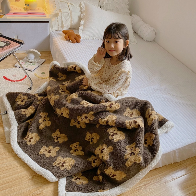 New Winter Baby Kids Blanket Small Grain Double-sided Lamb Velvet Warm Blanket Thickened Embroidered Blankets for Beds