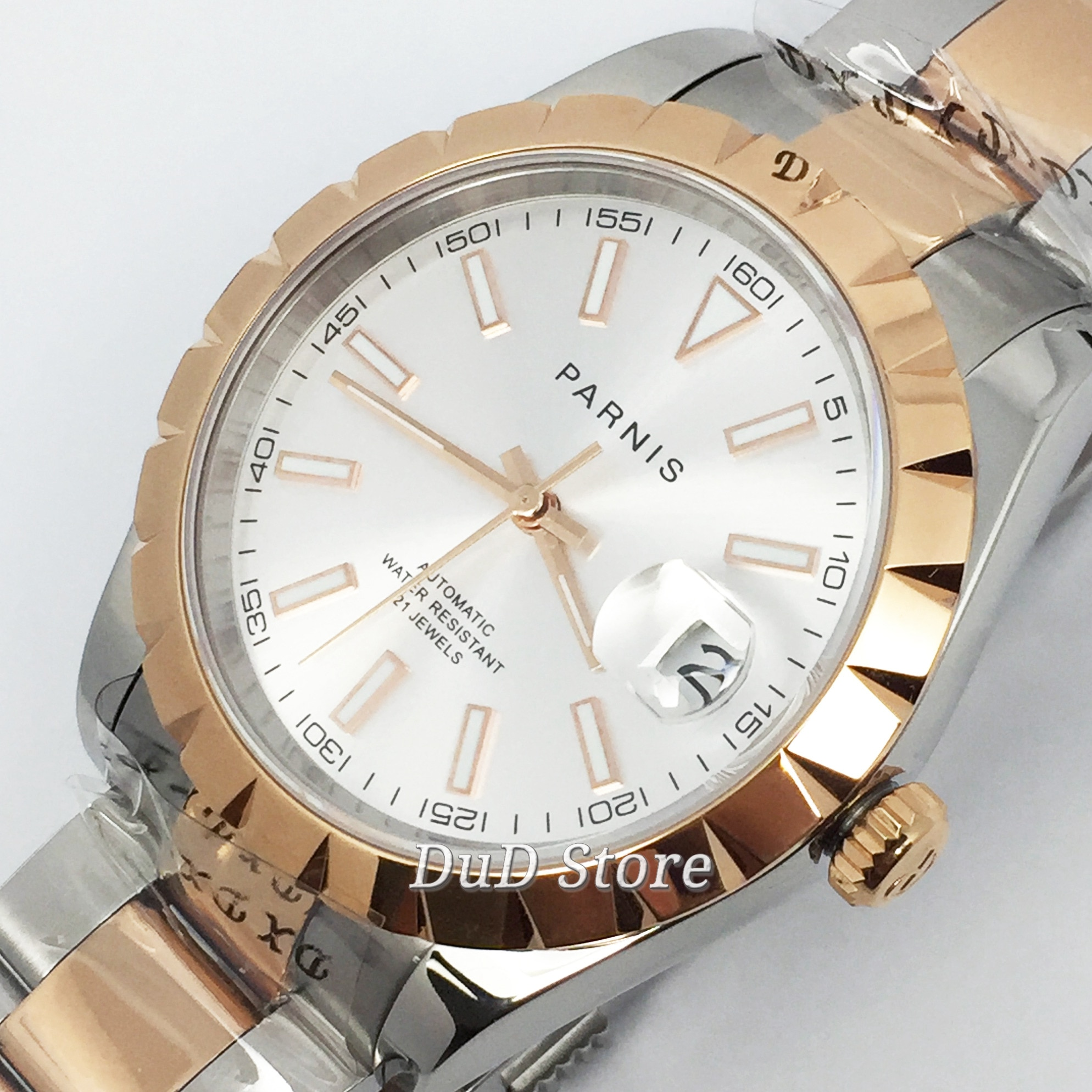 Parnis 2020 nouvelle montre en or rose pour hommes daffaires 39mm saphir cristal date fenêtre 21 bijoux mis5 mouvement montre automatique