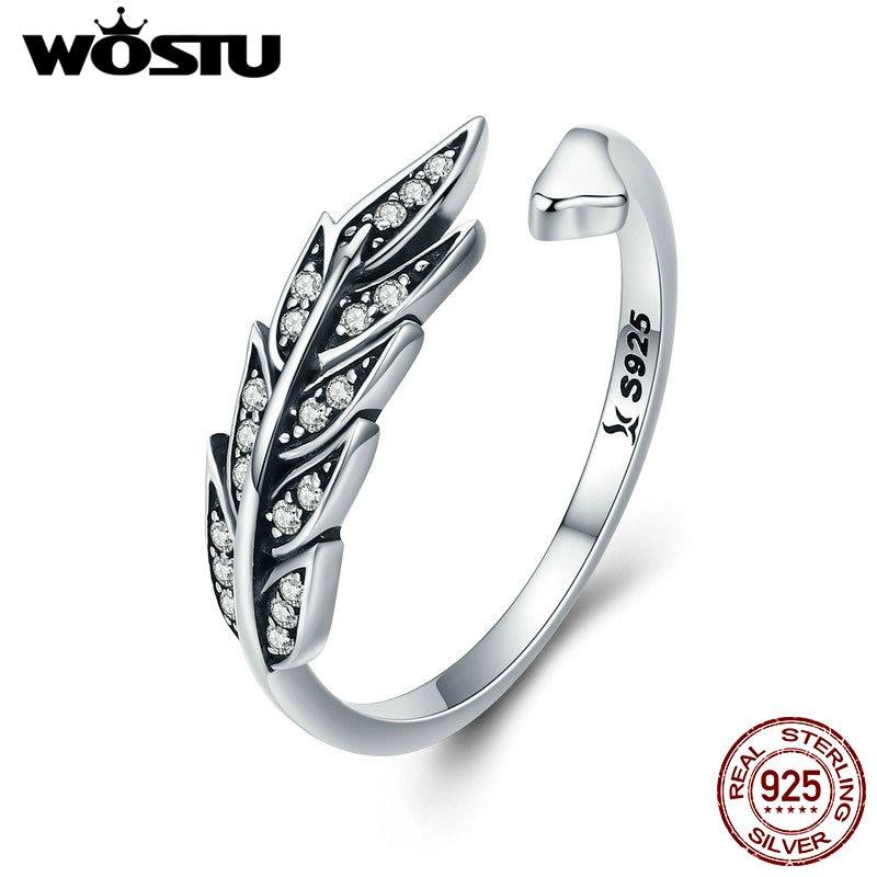Wostu novo 925 prata esterlina estilo do vintage folhas, limpar cz anéis ajustáveis para moda feminina s925 prata jóias presente cqr313