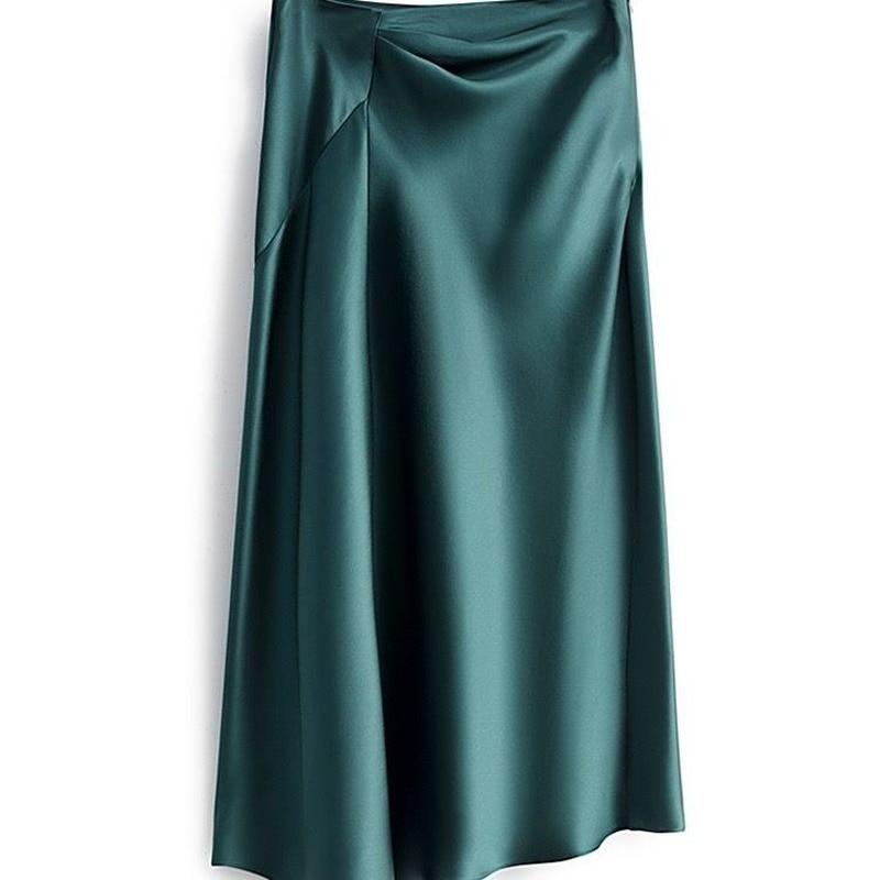elegant high waisted solid color midi skirt for women High-waisted Skirt Women Summer Large Size Solid Elegant Silk Satin A-line Skirts Womens Midi Irregular Long Skirt Office Lady