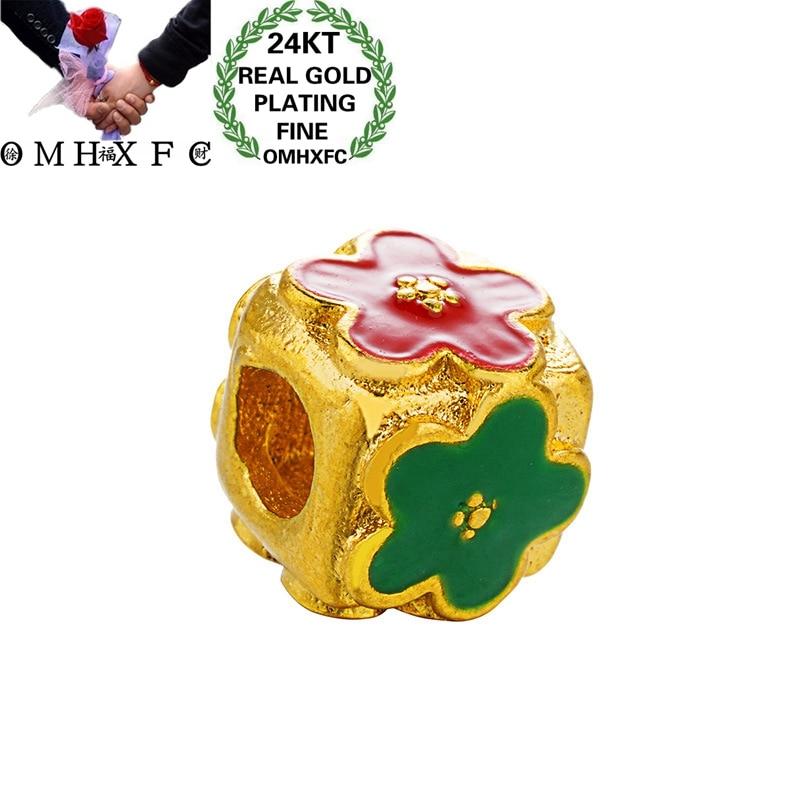 omhxfc-Оптовая-Европейская-мода-женский-мужской-день-рождения-свадебный-подарок-перегородчатый-цветок-diy-аксессуары-24kt-золотой-кулон-очарова