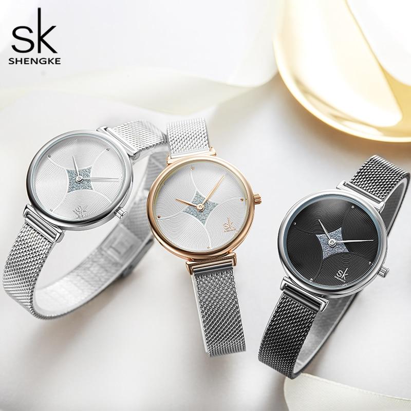 Shengke Women Watches Top  Luxury Brand Quartz  Stainless Steep Mesh Strap Unique Design Dial Waterproof Wristwatches relogio enlarge
