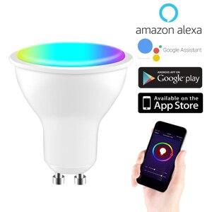220-240V eWeLink Wifi Smart Gu10 LED Light Bulb Spotlight 4W RGB+CW Lamp Magic Bulb Voice Control Work With Alexa Google Home
