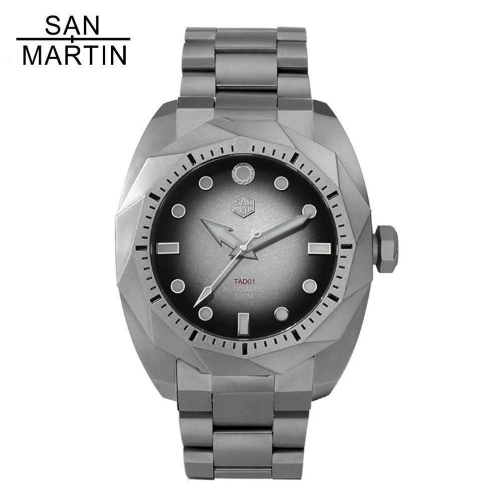 ساعة يد رجالية من التيتانيوم ، سان مارتن 50 بار ، SW200 ، زجاج ياقوتي ، غوص ميكانيكي ، أوتوماتيكية