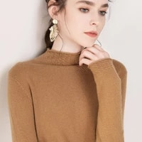 autumn and winter thickening half high neck pullover ladies sweater long sleeve short loose knit bottoming sweater hollow sweate