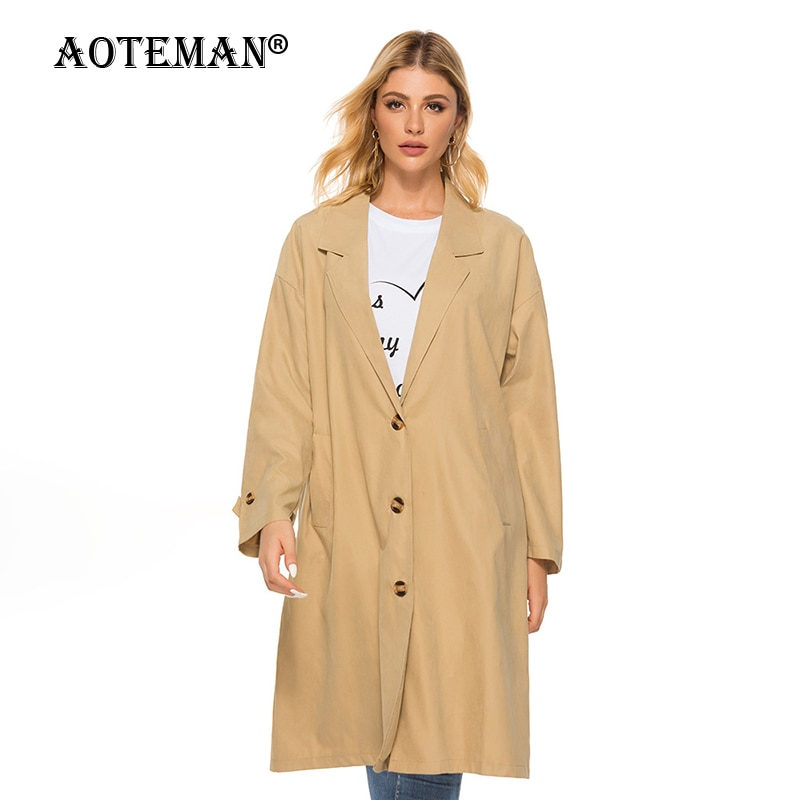 Women Trench Jackets Windbreaker Thin Coats Female Vintage Solid Outwear 2020 Casual Women Long Jacket Spring Autumn Coat LL074