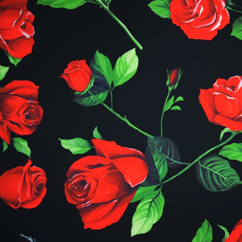 La rosa roja digital pintura estiramiento de tela de habyjabi para Vestido de satén falda tissu africano Mazin riche getzner telas tissus tela