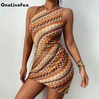 onelinefox 2021 womens stripe knitted dress sleeveless patchwork crewneck bodycon mini dress chic y2k summer dress