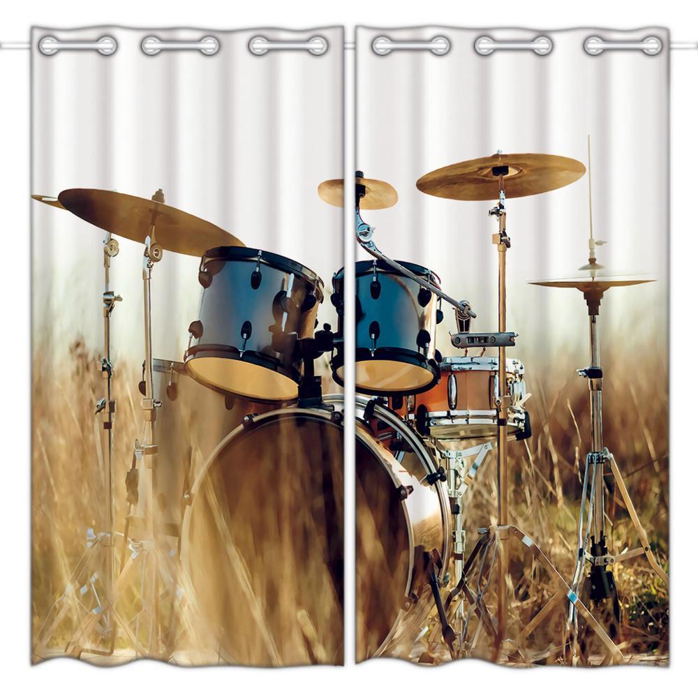 Cortinas opacas HommomH (2 paneles), cortinas de tela de calidad para dormitorio, mini tambor de percusión musical