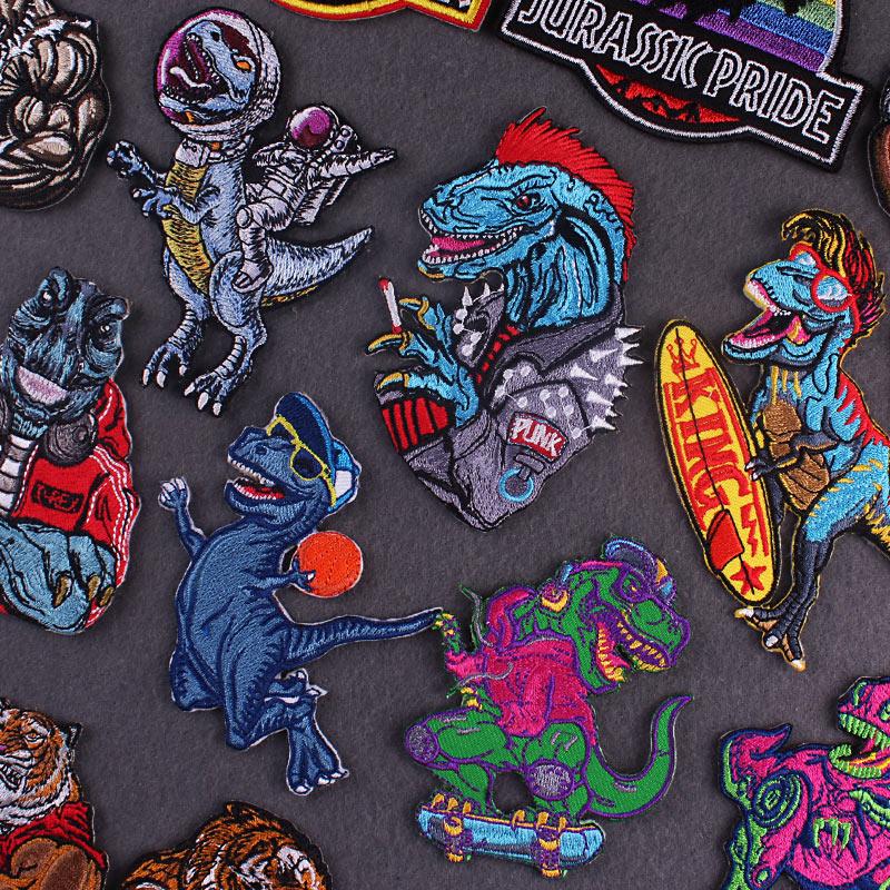 Нашивки с вышивкой динозавров для одежды, термоклейкие нашивки, термоклейкие нашивки на одежду, наклейки в полоску, значки в стиле панк/рок