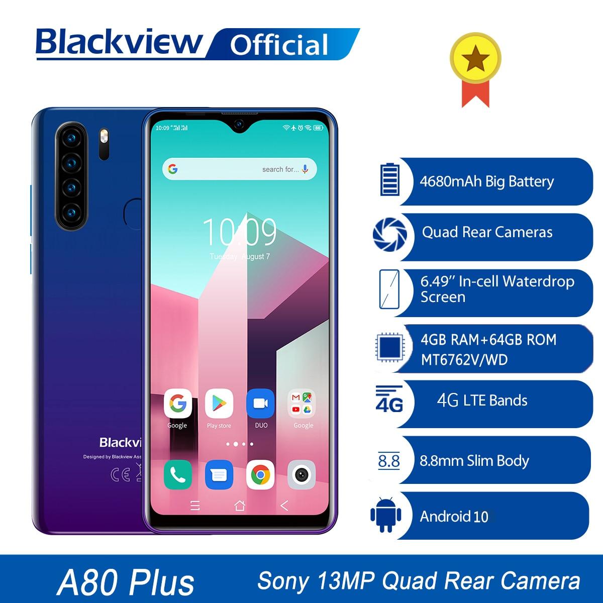 Перейти на Алиэкспресс и купить Blackview A80 плюс мобильный телефон, четыре ядра, 4 Гб Оперативная память + 64 Гб Встроенная память 13MP Quad сзади Камера 6,49 дюймов в виде капли воды, см...