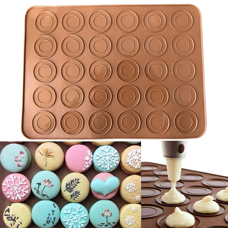 30 buracos Macaron Silicone Mat Pad Anti-Aderente Folha De Tapete De Silicone Para O Forno de Biscoito Bolinhos Bolo Esteiras Bakeware Pastelaria ferramentas de cozimento