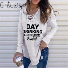 Chiclily Casual Loose Letter Print Sweatshirt V-neck  Long Sleeve Tie Hoodied Fall 2020 Women  Stree