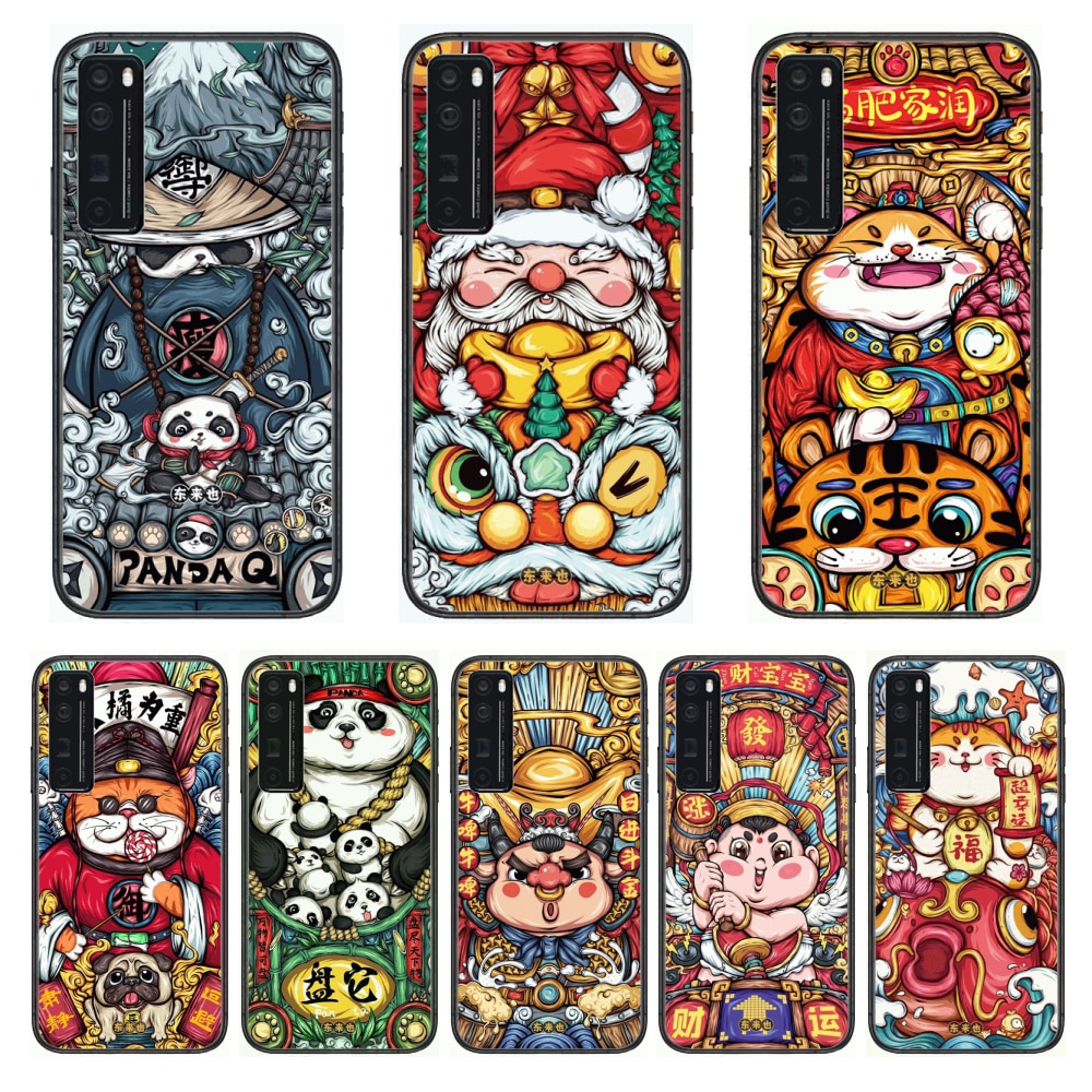 Lucky Trend Animation  Phone Case For Huawei Nova p10 lite 7 6 5 4 3 Pro i p Smart ZBlack Etui 3D Coque Painting Hoesje