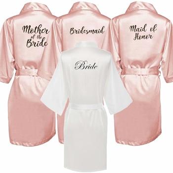 Robe de demoiselle d'honneur avec lettres blanches et noires, pour mère de la mariée, cadeau de mariage, peignoir kimono en satin, nouvelle collection