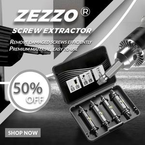 4PCS Zezzo ®Biservice Double Side Drill Out Damaged Screw Extractor Out Remover Stud Removal Tool Kit With Case