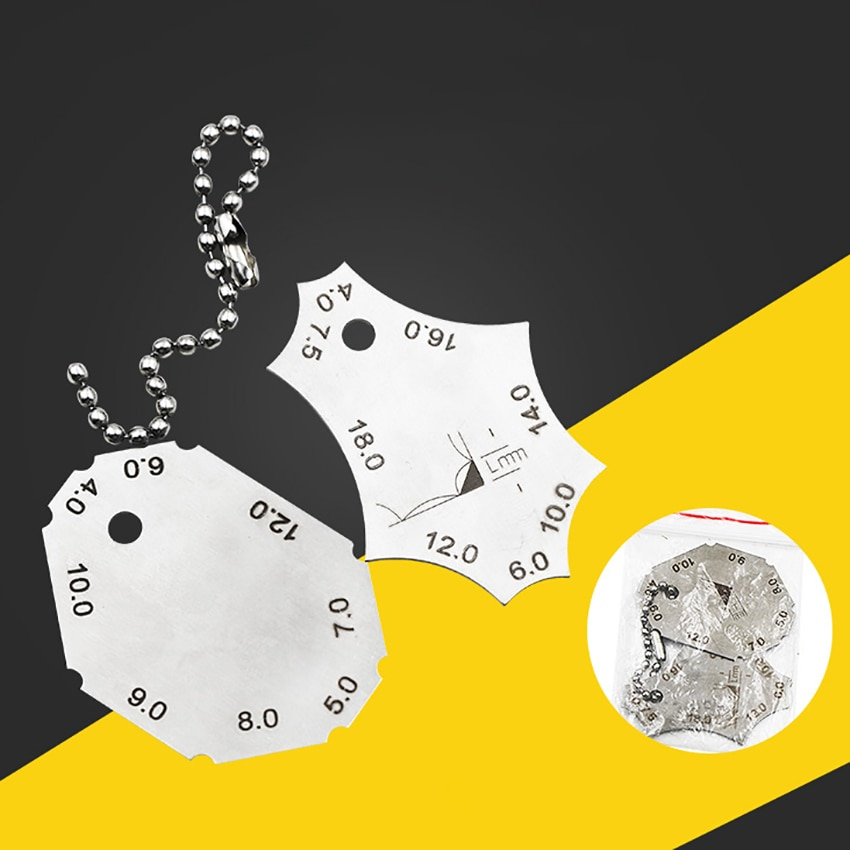 2 unids/set medidor de inspección de soldadura de filete de acero inoxidable de ángulo recto para comprobar la longitud de las piernas y el grosor de la garganta