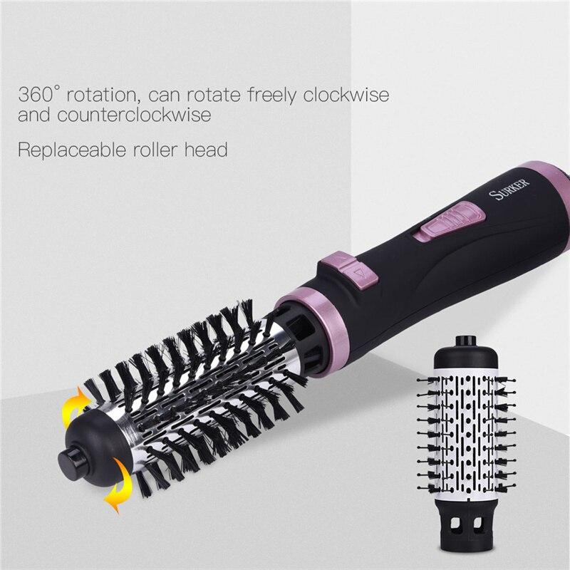 Secador de pelo cepillo de aire caliente automático giratorio volumizador redondo viento frío caliente rizador de pelo eléctrico alisador ventilador peine reemplazable