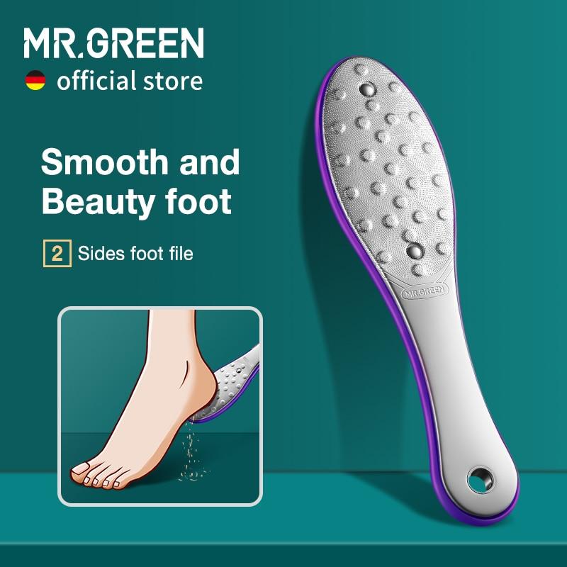 El Sr. Verde pedicura para el cuidado de los pies herramienta Archivo de pie escofinas callo muerto pie eliminador de cuidado de la piel de acero inoxidable profesional de dos lados