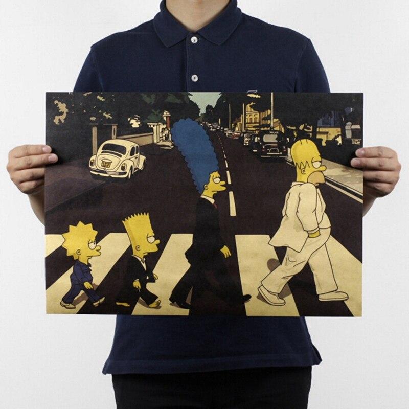 Póster clásico de Anime con estilo de banda de Rock para cruce de la carretera, papel Kraft, Bar, café, decoración, póster 51x35,5 cm, pegatina de pared