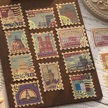 40 unids/pack Vintage Retro bronceado de pegatinas de papel Washi de pegatinas de plantas tachuela DIY diario Deco papelería pegatinas
