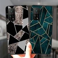 Custodia per telefono in marmo con arte geometrica per Xiaomi Mi 10T Lite 10 Ultra Redmi Note 9S 7 8 9 Note9 Pro 8T Cover in Silicone nero Coque