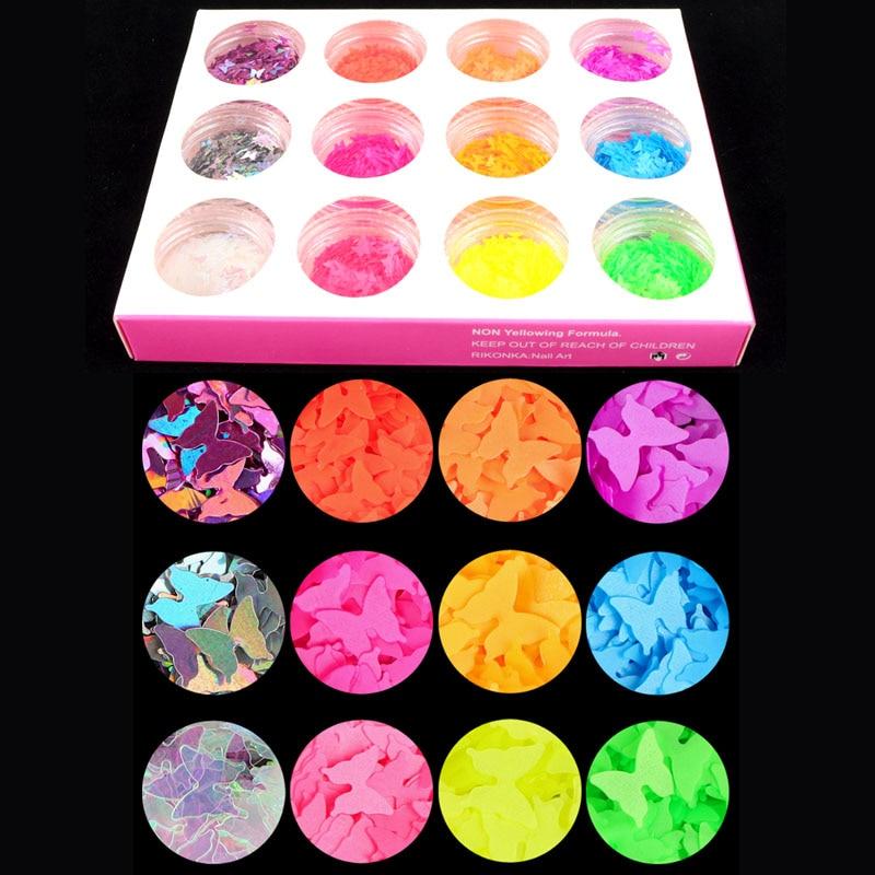 12 cajas/set neón mariposa uña brillo fluorescencia forma de estrella y corazón brillante Sparkles Nail Art lentejuelas escamas Gel decoraciones 3D