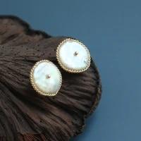 green purple natural fresh water baroque flat pearl stud earrings 925 sterling silver for women handmade charm fashion jewelry
