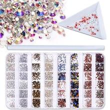 1 ensemble multi-taille ongles strass 3D cristal AB clair ongles pierres gemmes perle paillettes bricolage Nail Art or argent Rivet décorations