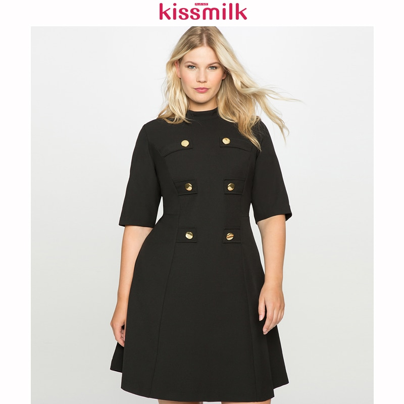 Kisleche 2020 Primavera Verano de talla grande mujeres medio-alto Collar de cinco puntos mangas cintura A-Line retro bohemio vestido de tendencia