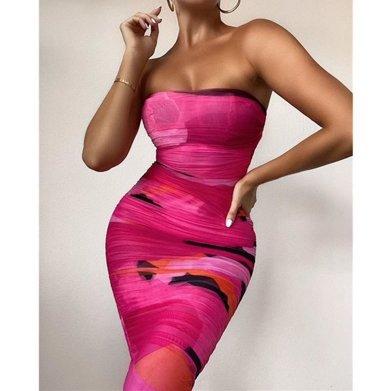 Tobinoone tie dye mulher vestido fora do ombro sem costas mini vestido magro outono sexy clube celebridade vestido de festa 2020 novo streetwear