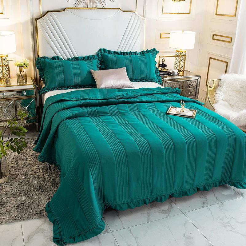الأخضر الأزرق لينة 100% غسلها القطن كشكش المفرش غطاء طقم ملاءة سرير بطانية لحاف صيفي غطاء سرير المخدة طقم سرير