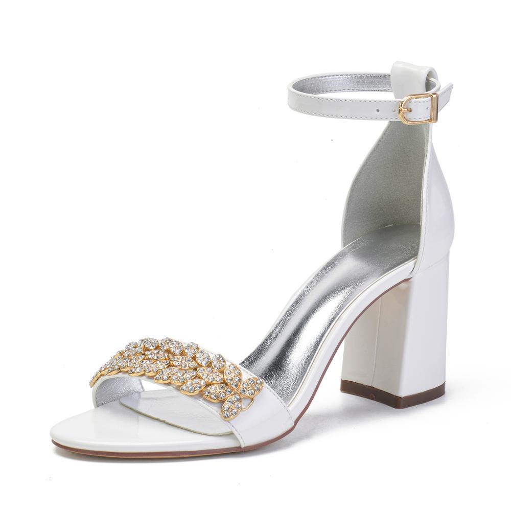 سيدة الصيف الصنادل مكتنزة كعب سميك أحذية بيضاء العاج مع ضوء الذهب كريستال التشذيب الكاحل حزام الزفاف حفلة موسيقية نادي