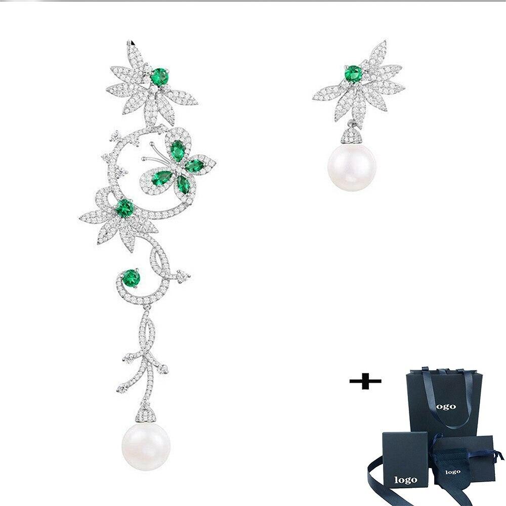 Pendientes DE Circonia Y Perlas Verde, Pendientes asimétricos, joyería