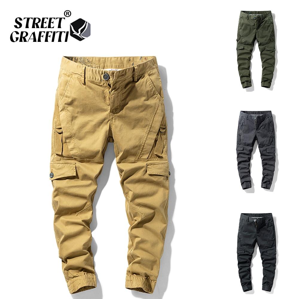 2021 New Spring Men's Cotton Casual Cargo Pants Men Clothing Autumn Fashion Elastic Waist Quality Ov