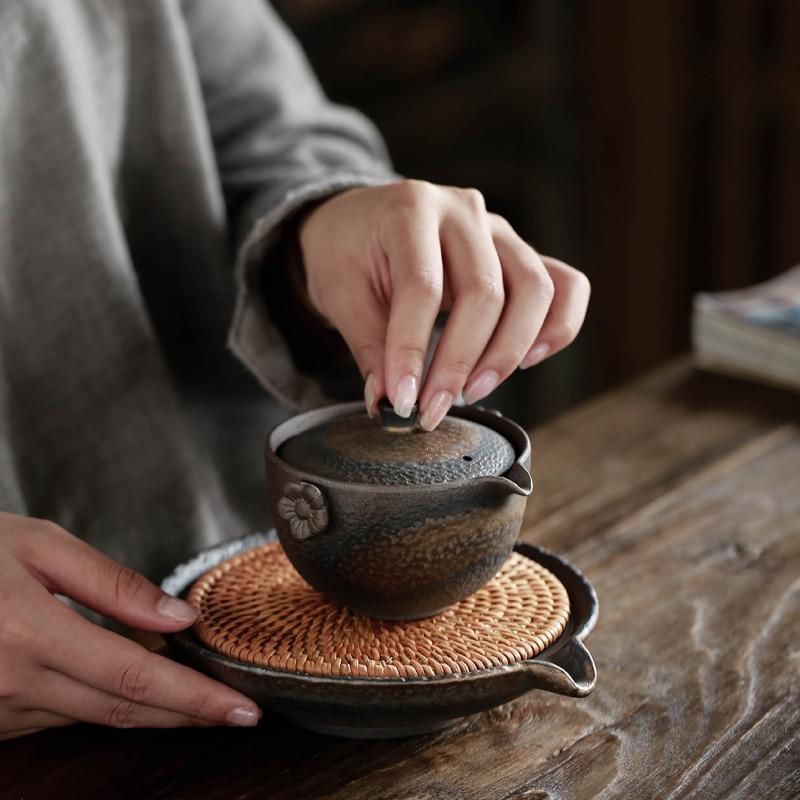 وعاء دائري كبير من الروطان ، حامل دائري إبداعي مع ماء سيراميك ، إكسسوارات شاي مصنوعة يدويًا ، صينية شاي الكونغ فو ، WF