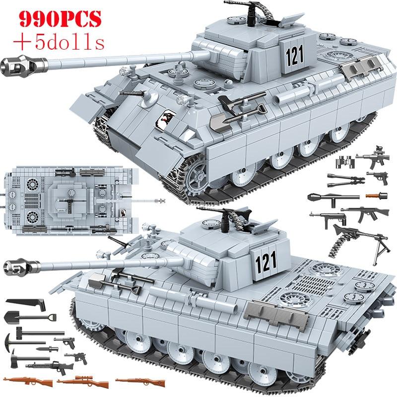 990 Uds tanque militar Pantera 121 la técnica de bloques de construcción WW2 arma soldado del ejército figuras ladrillos juguetes para niños regalos
