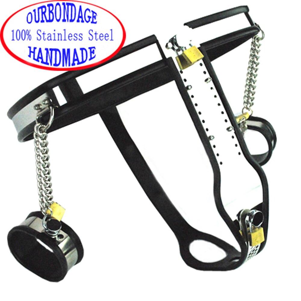 Ourbdsm-حزام العفة النسائي من الفولاذ المقاوم للصدأ ، حزام سيليكون ، درع على شكل T بأصفاد ، ألعاب جنسية عبودية للنساء