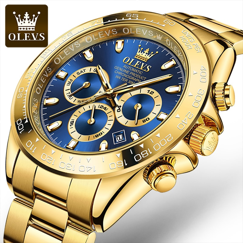 OLEVS New Green Water Ghost Automatic Mechanical  Stainless Steel Large Dial Luminous Men's Fall Resistant Scratch Watches 6638