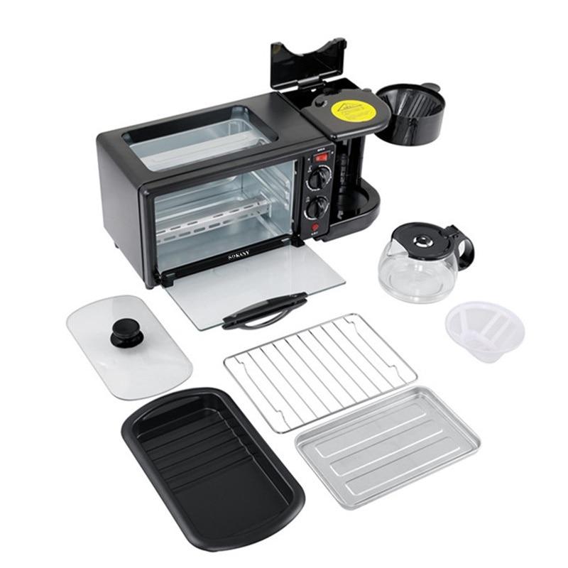 متعددة الوظائف ثلاثة في واحد التلقائي وجبة الإفطار آلة خبز التوست عجة ماكينة القهوة