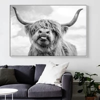 black and white yak highland cow wild animals canvas painting posters and prints wall art picture for living room decor cuadros