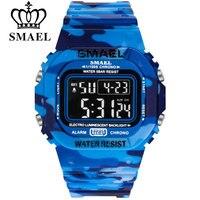 Часы SMAEL Мужские Цифровые, спортивные светодиодсветодиодный армейские камуфляжные водонепроницаемые белые в стиле милитари, с секундомеро...