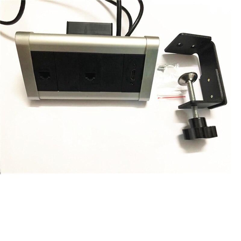 Triângulo desktop fixo soquete com 1 hdmi + 2 rj45 internet sem tomadas de energia para cozinha escritório bancada plugue da ue fio cabo