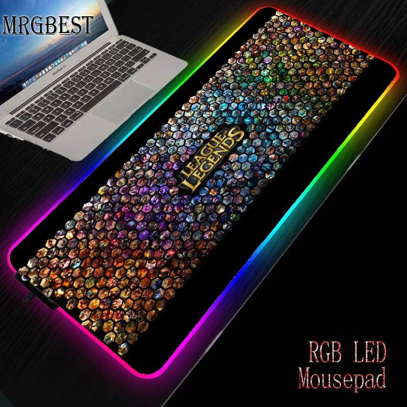 MRGBEST gran juego Anime Liga de Leyendas ratón Pad retroiluminación RGB Mat Mause XXL teclado de escritorio almohadillas para ordenador Csgo L