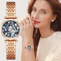 luxury women fashion bracelet watches marble dial design elegant silver ladies quartz wristwatches rose gold clock drop shipping