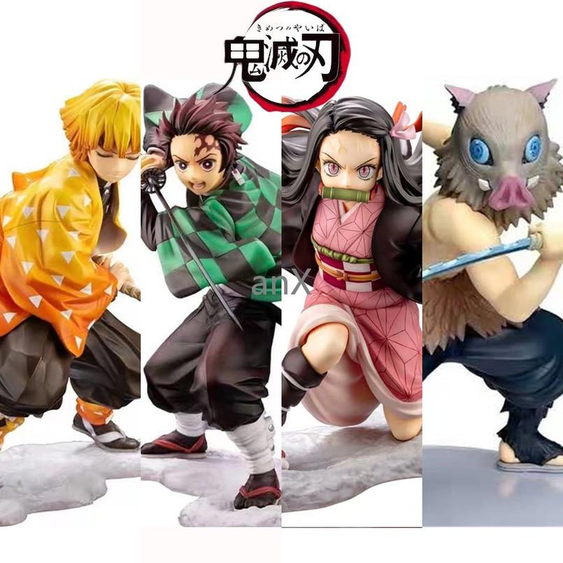 Anime 16CM Demon Slayer Kimetsu no Yaiba figure Kamado Tanjirou Action Figure Agatsuma Zenitsu Nezuko Warrior PVC Model Toys