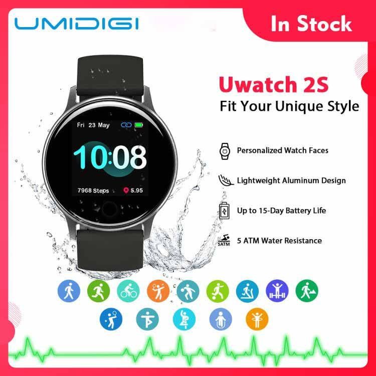 UMIDIGI Uwatch 2S Smart Watch Men Women 5ATM Waterproof 1.3