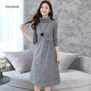 Fairyshely Korean Woolen Dress Women 2020 Autumn Winter Large size Warm Turtleneck Dress Ladys Solid Casual Base Vest Dress 2XL