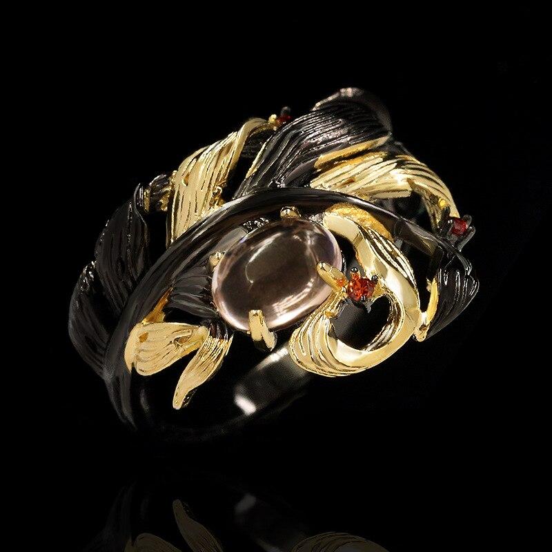Ретро-этнические-листья-обмотка-неправильной-формы-черный-полупрозрачный-кристалл-кольцо-Роскошные-преувеличенные-925-ювелирные-изделия-о