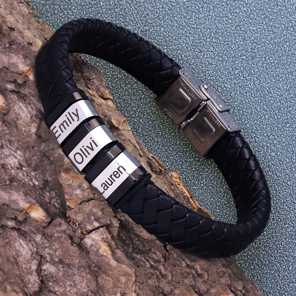 Personalized Mens Genuine Leather Bracelet Stainless Steel Custom Beads Name Charm Bracelet Jewelry for Men with Family Names personalized stainless steel braided rope charm bracelets custom name leather bracelet with 2 5 names beads for family men gifts